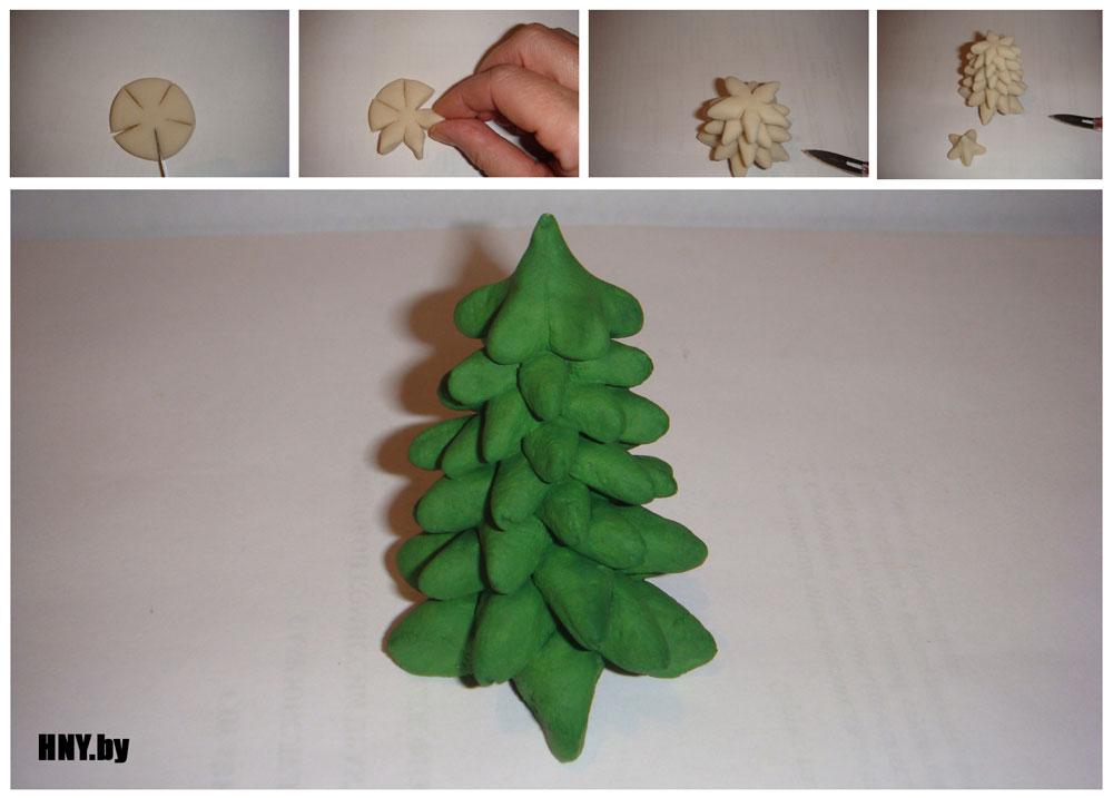 Миниатюрная елочка из соленого теста своими руками