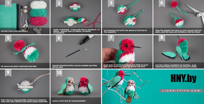 Животные из помпонов к Новому году: колибри