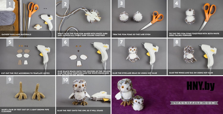 Животные из помпонов к Новому году: сова