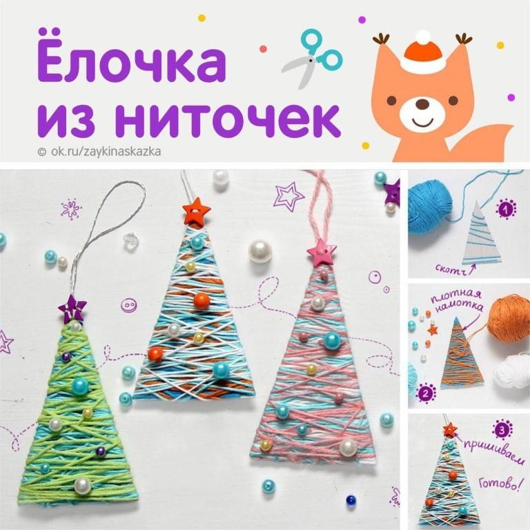 Простая елочка из ниток: новогодние поделки для детей