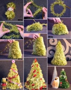 Вязаная крючком елочка: делаем новогодние поделки своими руками