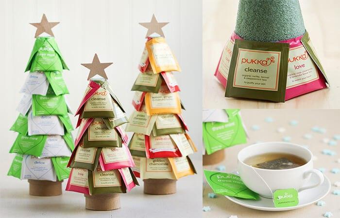 Новогодняя елка из чайных пакетиков